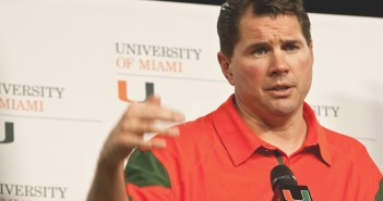 Al Golden, the new head coach of the football team, speaks at his first student-only press conference. Many student media outlets were in attendance including UMTV, Sportsdesk and WVUM. Adrianne D'Angelo//Photo Editor