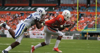 Wide receiver Phillip Dorsett runs with the ball during the Saturday game against Duke University. Miami beat Duke 49-14. George Wu//The Miami Hurricane