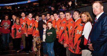 "The Miami ice hockey team was honored in  February by the Florida Panthers at ""UM Night"" at the  BankAtlantic Center to commemorate the team's 2011  Division III National Championship.  ""We have been striving to spread the word about our  team and being presented at the game really helped us,  and all the support we can get from the community really  helps our program grow,"" Vice President Adam Katz said.  The team previously practiced at a roller hockey rink  but traveled to ice hockey tournaments. Recently, the  team switched the venue for practices to Kendall Ice Arena  and now exclusively plays ice hockey. Marlena Skrobe // Staff Photographer"
