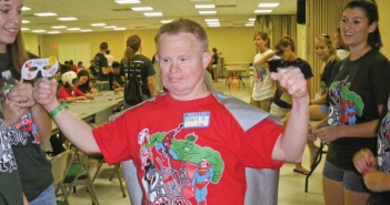 Mark B. shows off his cape to FunDay volunteers during arts and crafts during FunDay 2010 in the UC ballroom. The theme for last years FunDay was superheros. Courtesy Alyssa Laferrera