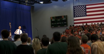 United States President Barack Obama discusses energy possibilities for the future at the University of Miami Field House on Feb. 23. Marlena Skrobe//Photo Editor