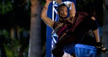 Reko Rivera, 26, prepares to jump to the next ring on the first round of obstacles for American Ninja Warrior. The show was taped on the FIU south campus Wednesday night, and people were offered $30 to fill seats in the audience American Ninja Warrior. The shw was taped on the FIU south campus Wednesday night, and people were offered $30 to fill seats in the audience. Cayla Nimmo//Assistant Photo Editor