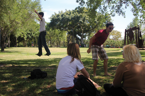 Well-balanced students try out slacklining