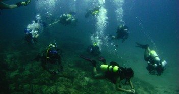 Members of the UM scuba club stick together during a dive off of Juno Ledge in Jupiter, Fla. Courtesy Marina Knize