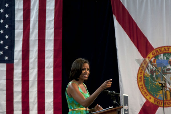 First lady rallies in Downtown Miami for final South Florida push