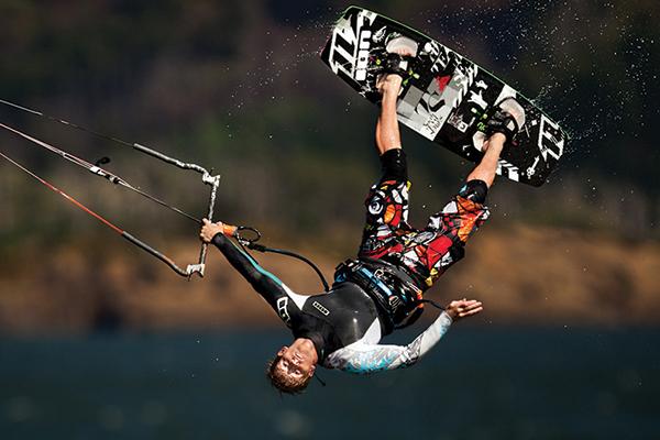 Kiteboarders fly high