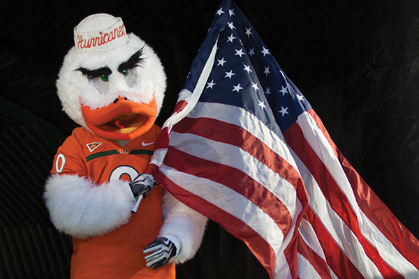 Sebastian the Ibis in contention for best mascot