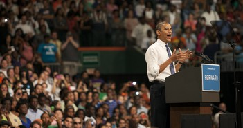 "President Barack Obama spoke to a packed crowd of 9,200 people at a grassroots rally Thursday afternoon in the BankUnited Center. It was Obama's third visit to UM in the past eight months. The speech highlighted his accomplishments during his first four years in the White House, and Obama also emphasized his campaign slogan, ""Forward."" 