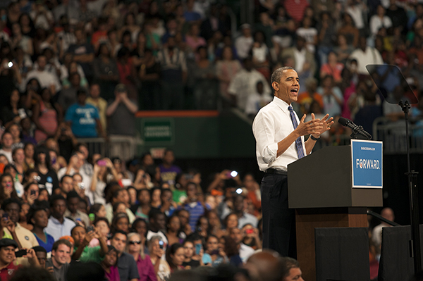 Obama rallies capacity crowd of supporters Thursday at BankUnited Center