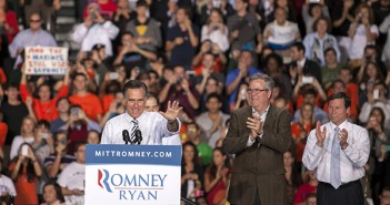 Wednesday afternoon, Governor Mitt Romney returned to campus for a rally. He was introduced to the stage by Governor Marco Rubio, Congressman Cinnie Mack, and former Governor Jeb Bush. Cayla Nimmo // Photo Editor