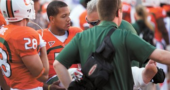 Stephen Morris after being hurt during Saturday's game against North Carolina. Zach Beeker // Staff Photographer