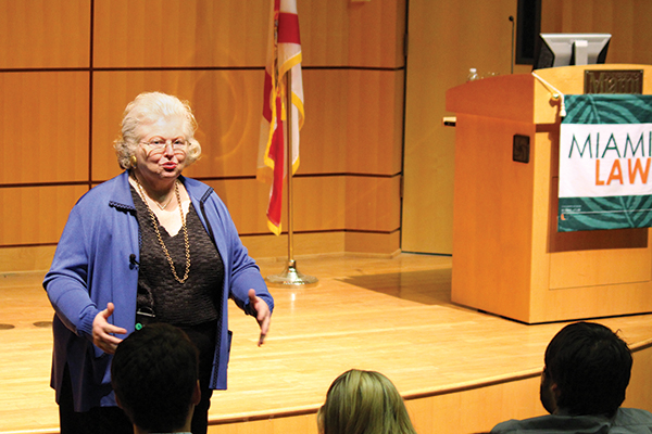 Sarah Weddington lecturing at Storer Auditorium. Photo: Catharine Skipp/Miami Law
