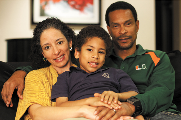 Laura Kohn-Wood at home with her husband London Wood and son Lian. Monica Herndon // Assistant Photo Editor
