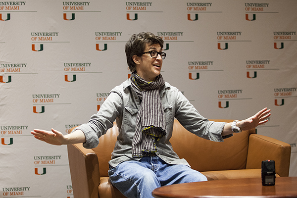 "MSNBC host Rachel Maddow spoke to UM students and the public on Sunday afternoon in a conversation with President Shalala about her book, ""Drift: The Unmooring of American Military Power."" The event was hosted at the BankUnited Center fieldhouse in collaboration with Books & Books. Monica Herndon // Assistant Photo Editor"