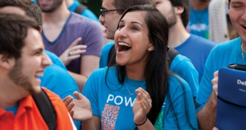 Junior Bhumi Patel cheers during the SGA election results. Cayla Nimmo // Photo Editor