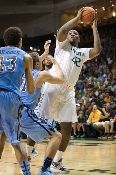 Senior Reggie Johnson goes in for a shot during the game against UNC. Zach Beeker // Contributing Photographer