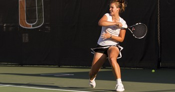 Freshman Stephanie Wagner plays in a doubles match against Brown on Wednesday night. Nick Gangemi // Staff Photographer