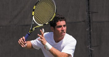 Junior Diego Soto, plays in a match on Sunday February 24th against North Florida. Nick Gangemi // Staff Photographer