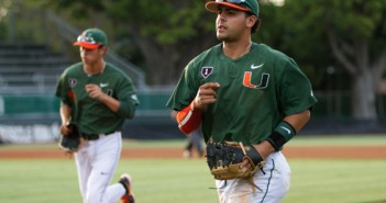 Junior shortstop Alexander Hernandez runs off the field at the end of an inning on Wednesday night's game against Bethune-Cookman. Nicholas Gangemi // Staff Photographer
