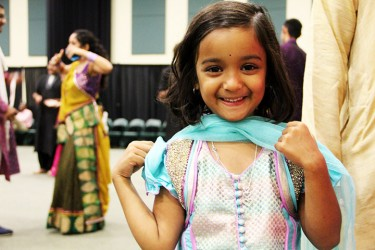 Mannat Mittal, 5, poses for a picture at Garba on Friday night. Michelle Brener // Contributing Photographer