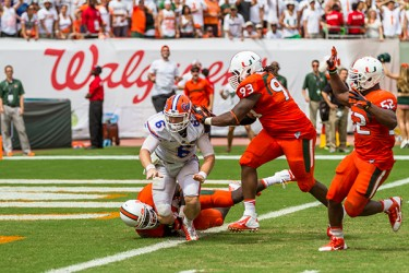 Miami's defense played a key role in Saturday's game. Nick Gangemi // Assistant Photo Editor