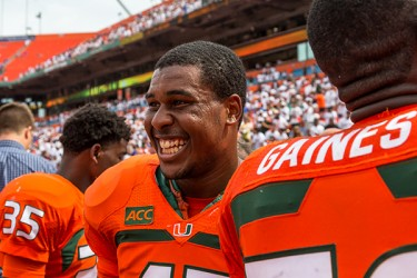 Akil Kraig (47) reacts to the Canes win against the Gators on Saturday afternoon. Nick Gangemi // Assistant Photo Editor