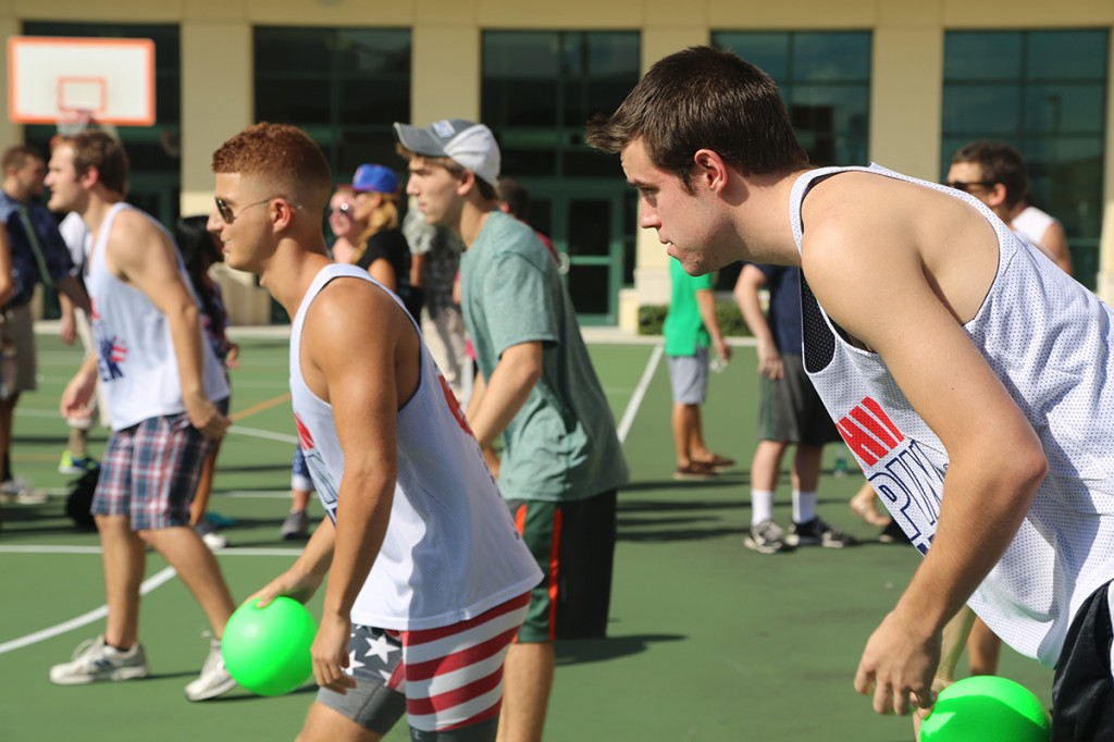 Seniors Adam Katz (left) and Brandon Seagriff (right) represent UM's Hockey Team during the Zeta Tau Alpha dodgeball tournament held on Friday. Torie O'Neil // Contributing Photographer