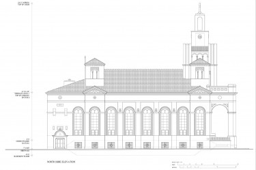 A sketch of the Gesu Catholic Church, located in downtown Miami, created by Matthew Cohen, Carolina Madureira, Mara Wine, Ariana Ragusa, Shef Ali Lal, Jose A. Vela III.  Courtesey of Ricardo Lopez