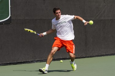 Senior Diego Soto playing in a match against North Florida in February. File Photo by Nick Gangemi