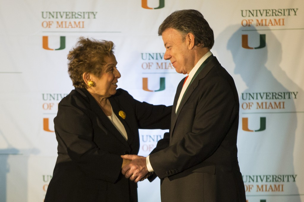 Shalala recognizes Colombian president for leadership
