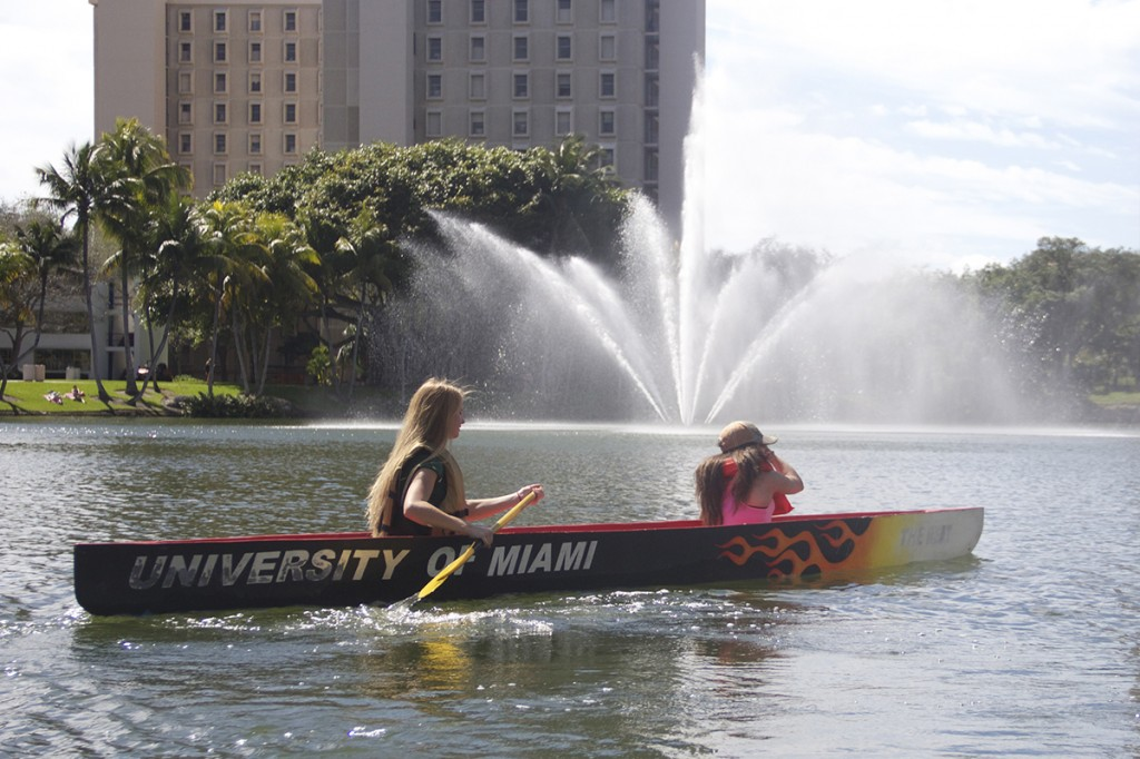 Concrete canoes take Canes across Lake Osceola