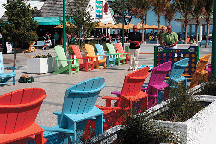 Two men play a game of cornhole in the newly built sand plaza in Broward County's town of Lauderdale-by-the-Sea on Feb. 6 2014. The plaza is decorated with colorful chairs and fish-shaped bicycle racks. Sophie Braga de Barros // Contributing Photographer