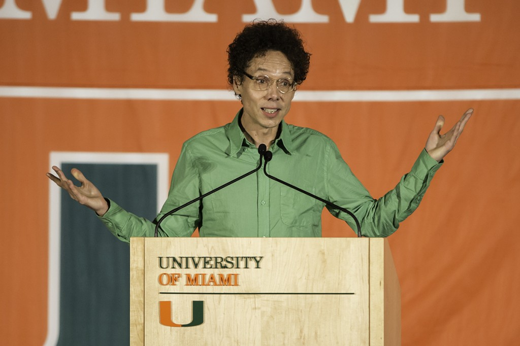 Author Malcom Gladwell speaks to the UM Community in the SAC ballroom on Tuesday night. Nick Gangemi // Assistant Photo Editor