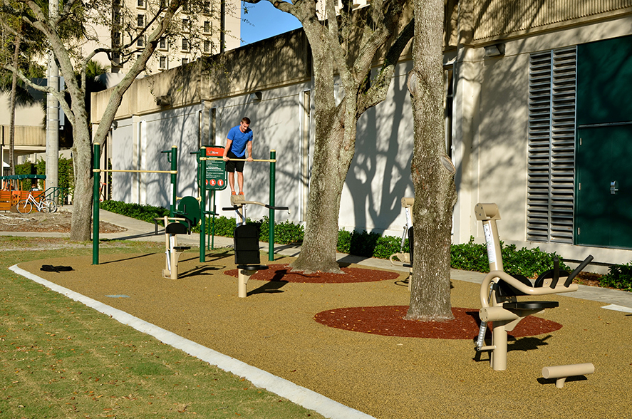 Exercise area features fitness equipment outdoors