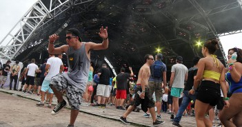 David, also know as, DJ TechNeekz dances outside the Carl Cox stage at Ultra on Saturday. He declined to give his last name.