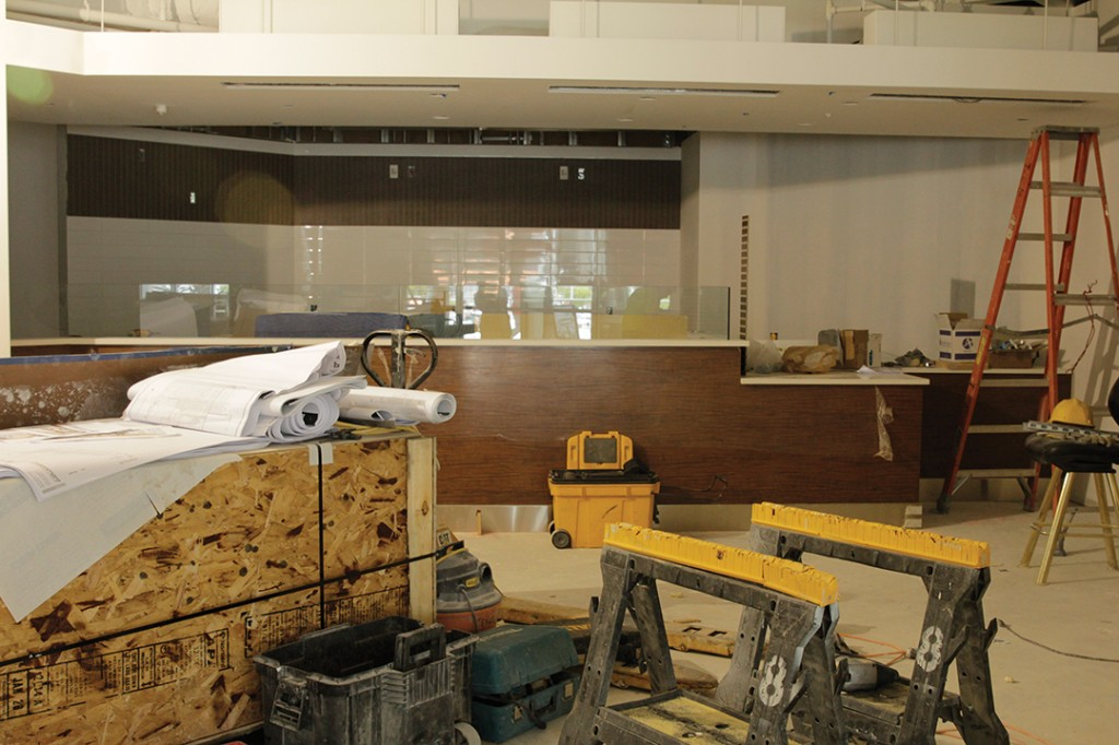 Construction continues in the food court on Friday afternoon. Yinghui Sun // Staff Photographer