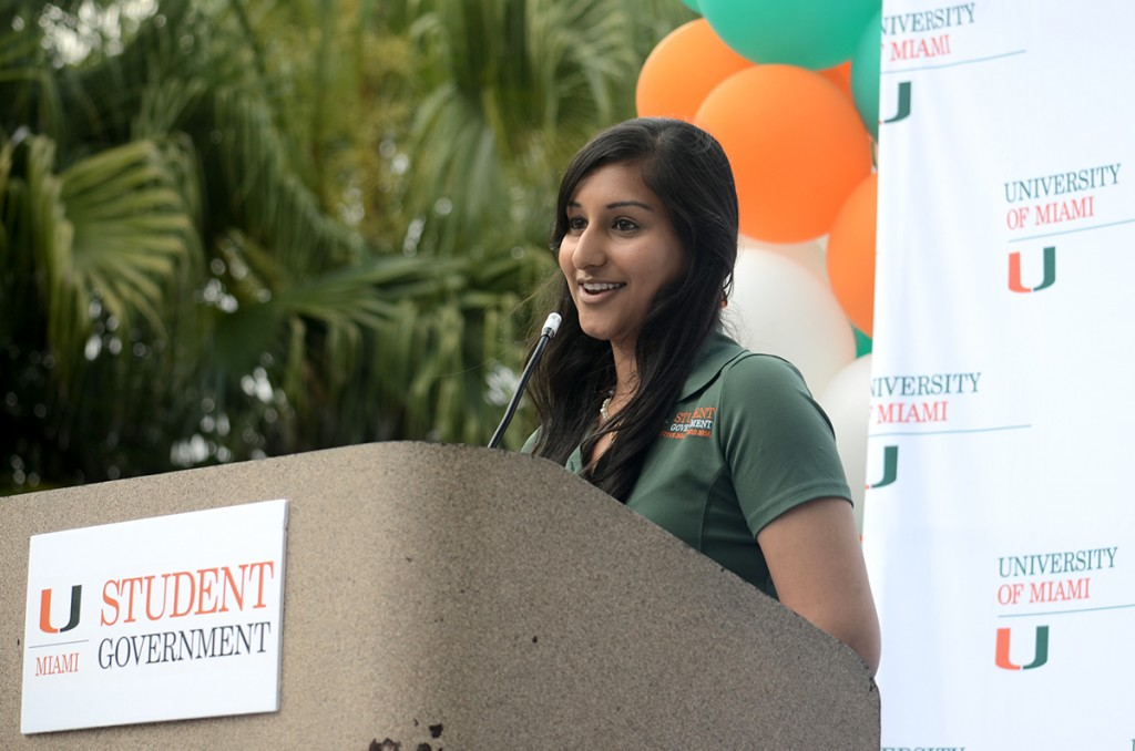Student Government President Bhumi Patel addresses the UM community on Thursday afternoon during the annual State of the U address delivered on the Rock. Becca Magrino // Contributing Photographer