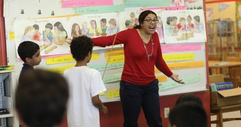School of Education professor Jennifer Langer-Osuna lead a session of her after-school math club at West Lab Elementary School on Tuesday March 11.  UM reconnected with the nearby elementary school when Langer-Osuna took on the title of Professor in Residence and began her math club research project. Monica Herndon // Photo Editor