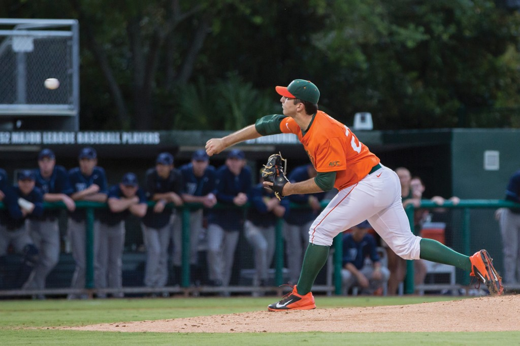 Senior Javi Salas threw a perfect game against Villanova on Tuesday. Nick Gangemi // Assistant Photo Editor