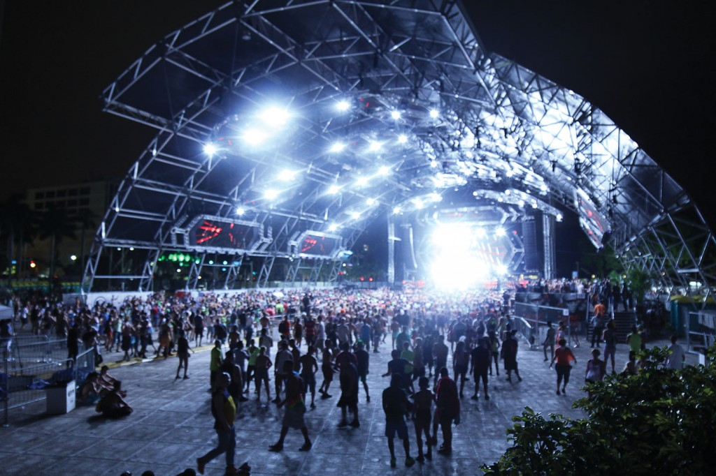 The Carl Cox stage is lit up during Ultra on Saturday night.
