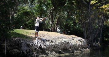 Sophomore Derek Sheldon fishes in the lake on Tuesday afternoon. Monica Herndon // Photo Editor