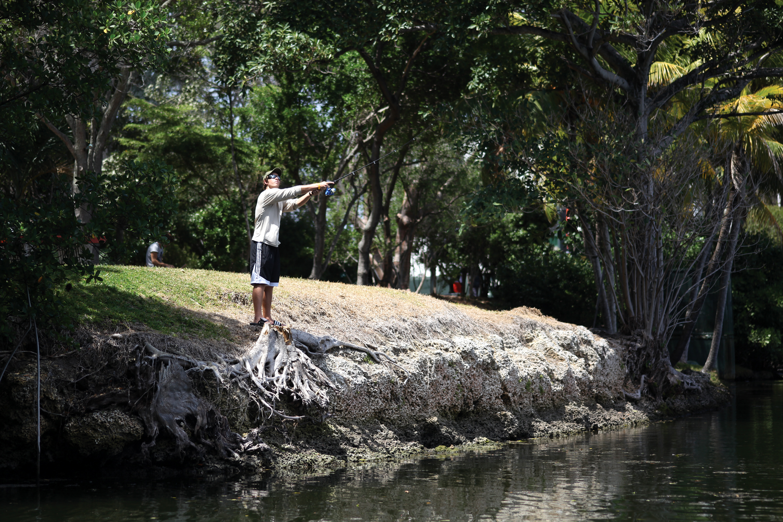 Sophomore casts line on campus fishing the miami hurricane for Sheldon lake fishing