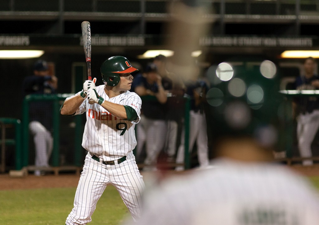 Senior Tyler Palmer waits at bat during the game on Friday against Pitt.  Monica Herndon // Photo Editor