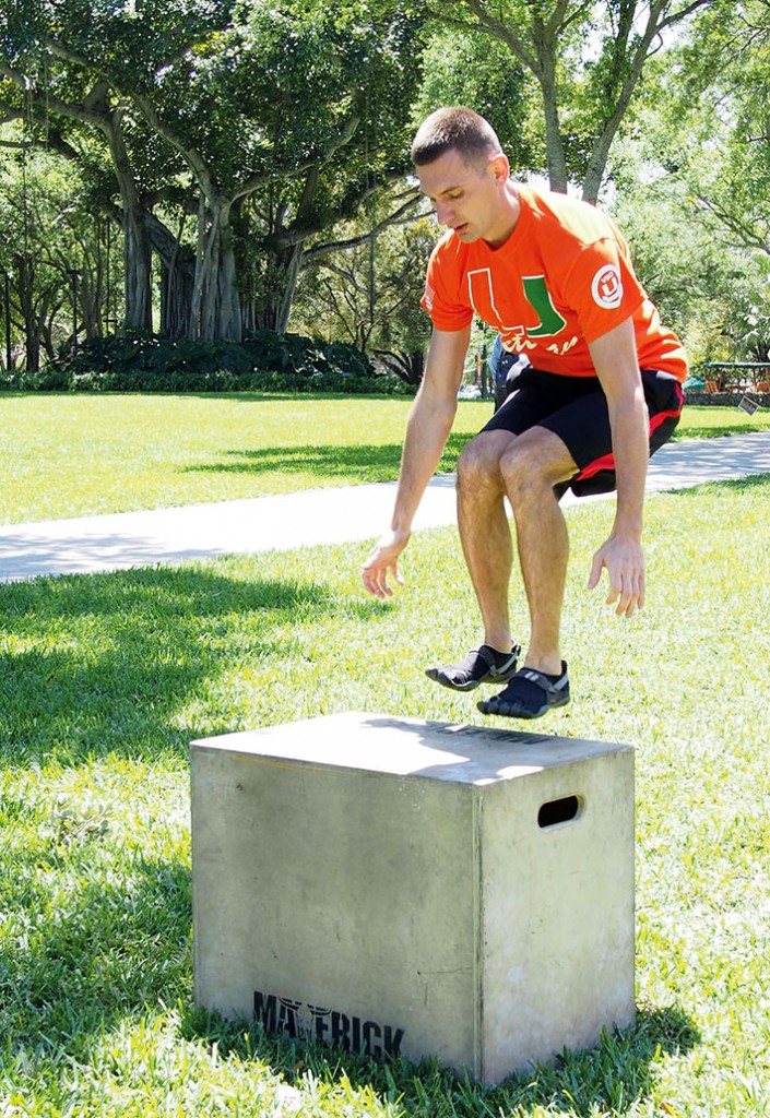 "First year MBA graduate student Aaron Hommerding, did five box jumps during an obstacle course challenge and individual fitness event called ""Sweat with Vets,"" to help out homeless veterans.The event was sponsored by The University of Miami Veteran Students Organization VSO on April 2nd on the green. Mingyue Bao // Contributing Photographer"