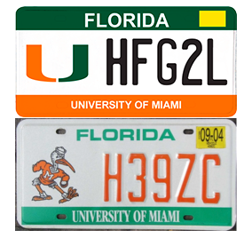 Above: The new license plate offered by the Alumni Association. Below: The old license plate featuring Sebastian the Ibis.