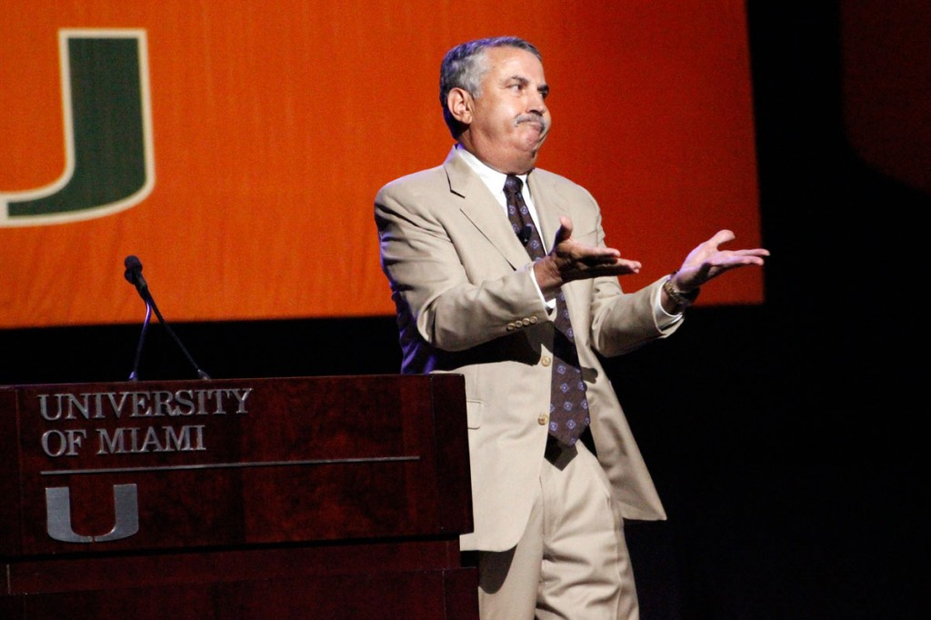 New York Times columnist Thomas Friedman gives a speech about technology and globalization at the New Student Convocation during Orientation on Wednesday.