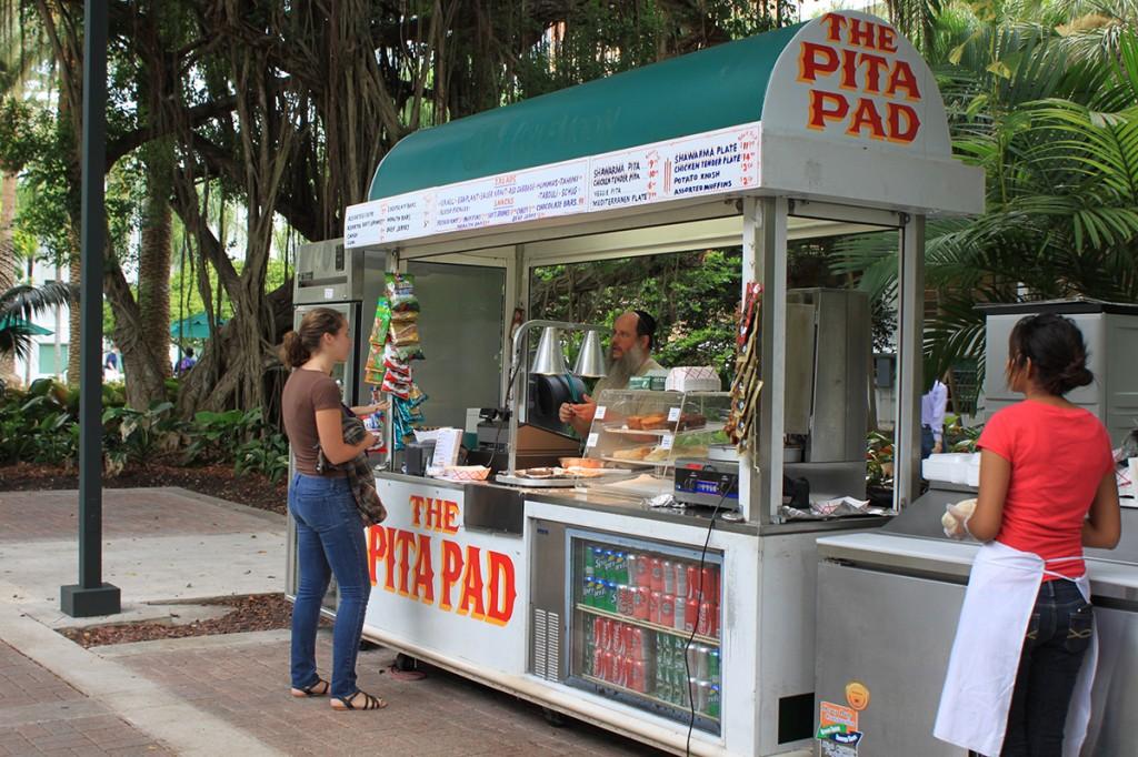 Food vendor serves Mediterranean cuisine