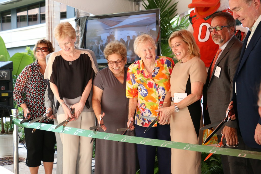 President Donna E. Shalala cuts a ribbon to inaugurate the new Marine Technology and Life Science Seawater Complex at the RSMAS campus Thursday. Sophie Barros // Contributing Photographer.