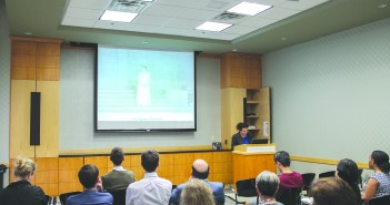 Greek literature expert Anastasia Bakogianni gives a talk on 'Antigone' at Richter Library Monday. Marwan Alenezi // Contributing Photographer