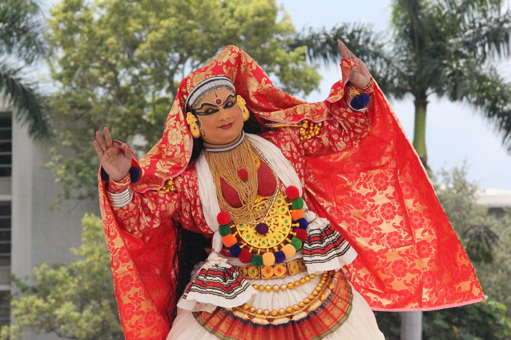 A member of an indian dance troupe from Kerala, India performs Kathakali, a traditional Indian dance, on the UC Patio Stage Wednesday. The religious studies department organized the event, which also included a makeup demonstration prior to the performance. Amy Sargeant // Contributing Photographer